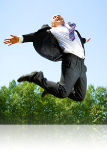 Elated businessman jumping through the air, Fishbowl Inventory Blog