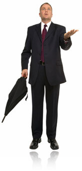 Businessman with an umbrella, Fishbowl Inventory Blog